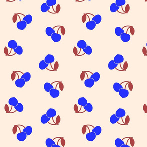 Pop Art Cherries! Vivid blue on cream beige, large