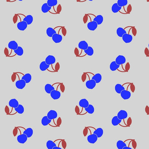Pop Art Cherries! Vivid blue on silver grey, large