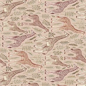 Giraffes in Neutral Tan and Brown - rotated