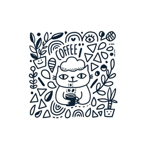 Funny doodle cat and coffee and flowers pillow