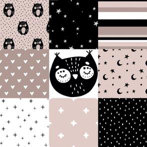 Patchwork Owls - mauve, black, white