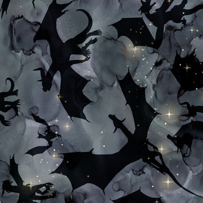 Big Dragons - black on night sky - jumbo wallpaper size - Ro