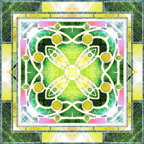 Victorian Stained Glass in Green and Lemon