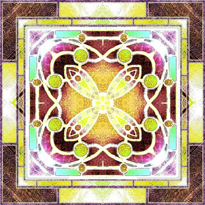 Victorian Stained Glass in Lemon and Brown