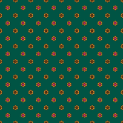 Pink _ Gold geometric ditsy flower motif_green-01