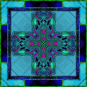 Stained Glass Celtic Cross in Green and Aqua