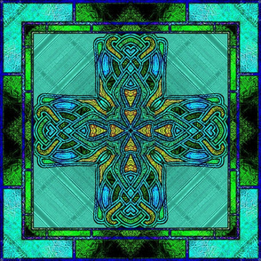 Stained Glass Celtic Cross in Green and Gold