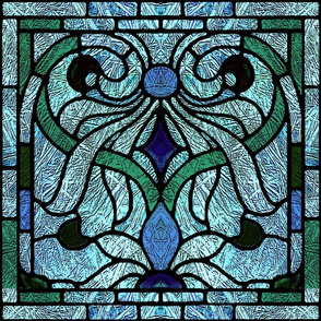 Victorian Stained Glass in Blue and Aqua