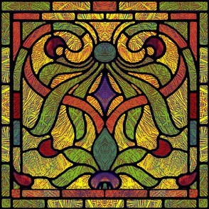 Victorian Stained Glass in Gold and Scarlet