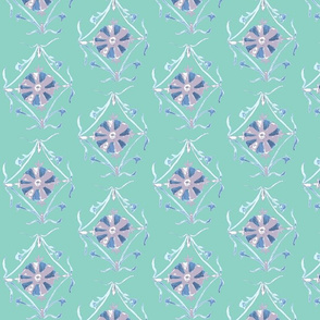 Flower motif in turquoise, lavender, plum mauve and white.