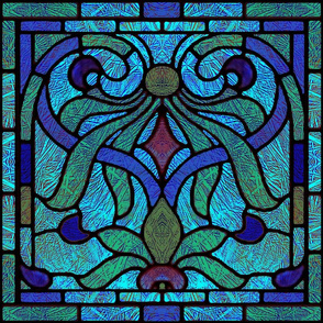 Victorian Stained Glass in Navy and Green