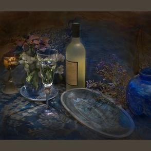 Still life chiarascuro blue and wine