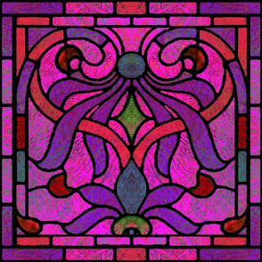 Victorian Stained Glass in Purple and Pink