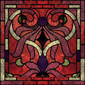 Victorian Stained Glass in Maroon and Red