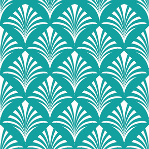 Deco Stylized Plant Frond Bold White on Teal Pattern
