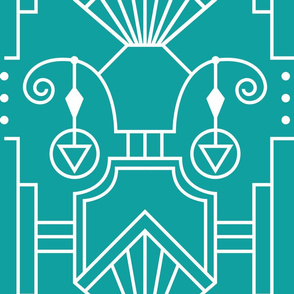 Art Deco Outline Drawing With Hanging Circle and Triangle Bold White on Teal Background