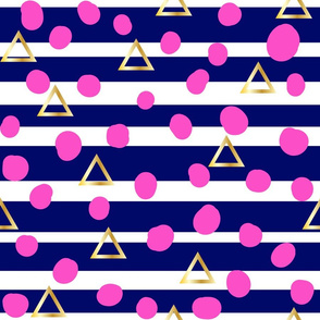 Navy stripe, pink spot, gold triangle - small scale