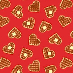 (small scale) heart shaped waffles - red - valentines food - LAD19BS
