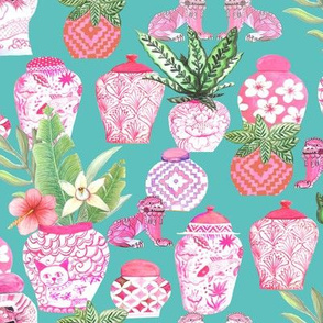 pink  ginger jar Chinoiserie fabric and wallpaper chinese jars Chinoiserie