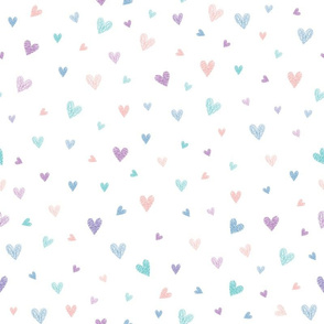 pink teal paint waves hearts