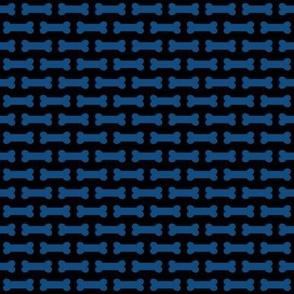 Small Classic Blue Horizontal Dog Bones on Black