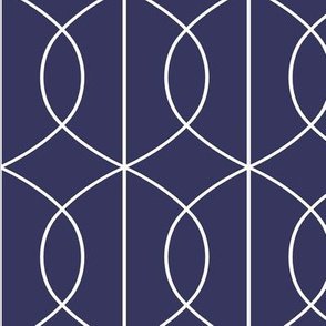 Art Deco Pointed Ellipse Lines in Bold White on Dark Blue Background