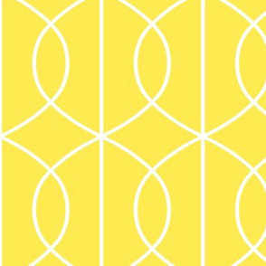 Art Deco Pointed Ellipse Lines in Bold White on Yellow Background