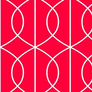 Art Deco Pointed Ellipse Lines in Bold White on Tomato Red Background
