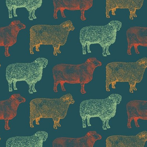 Vintage Color Sheep (Large Print)