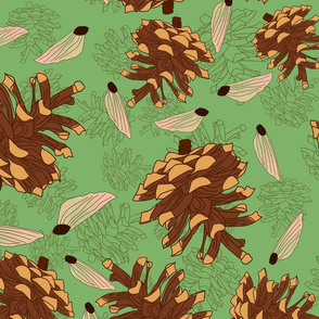 Seamless floral pattern on a blue background from pine cones and their seeds.