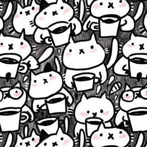 Cats and coffee. Sketchy pattern.