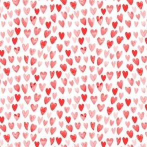 TINY  - watercolor valentines fabric watercolour heart fabrics valentine design