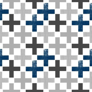 SMALL plus fabric - swiss cross, cross fabric, navy, light grey, charcoal, plus fabric