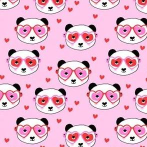 panda valentines fabric - cute valentines day fabric, animal valentines, girls valentines, sweet valentine- pink