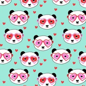 panda valentines fabric - cute valentines day fabric, animal valentines, girls valentines, sweet valentine- mint