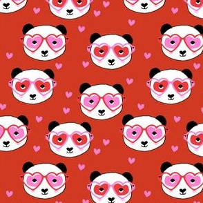 panda valentines fabric - cute valentines day fabric, animal valentines, girls valentines, sweet valentine- red