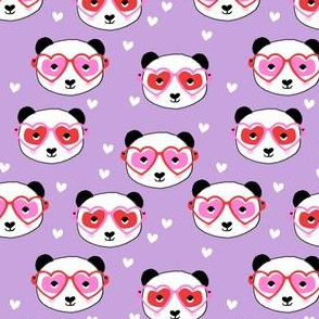 panda valentines fabric - cute valentines day fabric, animal valentines, girls valentines, sweet valentine- purple