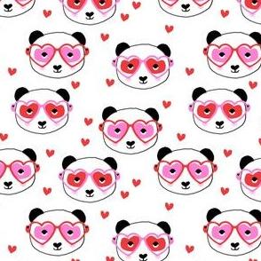 panda valentines fabric - cute valentines day fabric, animal valentines, girls valentines, sweet valentine- white