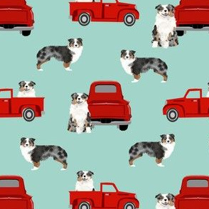 aussie dog truck fabric - blue merle australian shepherd fabric, dog fabric, truck fabric, red truck fabric - mint