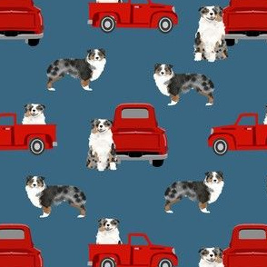 aussie dog truck fabric - blue merle australian shepherd fabric, dog fabric, truck fabric, red truck fabric - blue