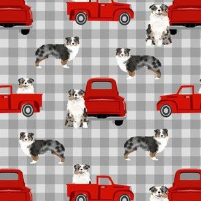 aussie dog truck fabric - blue merle australian shepherd fabric, dog fabric, truck fabric, red truck fabric - plaid
