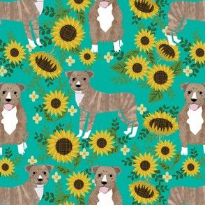 pitbull brindle sunflower fabric - brindle pitbull fabric, sunflower dog fabric, cute dogs