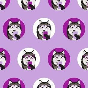 malamute selfie fabric - dog fabric, cellphone, selfie