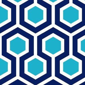Navy and Light Blue Geo Hexagon