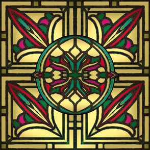 Victorian Stained Glass in Gold Red and Green