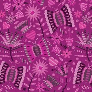 Otomi Butterflies-Pinks & Burgundy