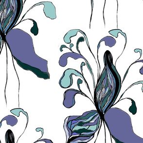 Abstract purple flowers with large petals. Bright, airy, light floral pattern