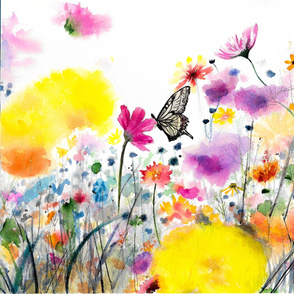 Watercolor painted Butterfly in wildflowers