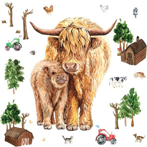 highland cow farm patch 18x18""