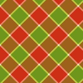 """Jacobite coat check, 6"""" diagonal, apple red and granny-smith green"""